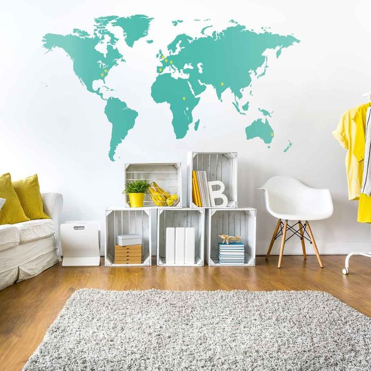 78 best world map wall graphics images on pinterest design offices world map vinyl wall sticker gumiabroncs Gallery