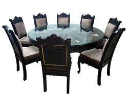 Teak Wood Fine Rajathani Barmeri Carved Dining Sets, Dining set, Round 8 seater dining,