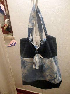 Bag - Saco tecido tingido e  aproveitamento de  ganga dupla face.