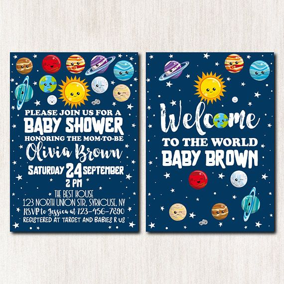 93 best baby shower invitations images on pinterest for Space themed stationery
