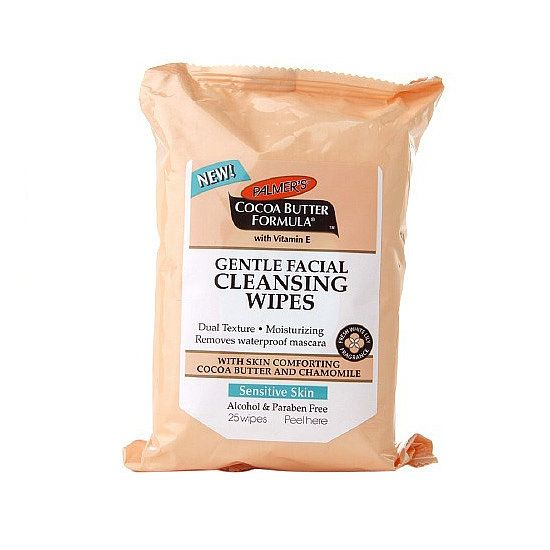 Palmer's new Cocoa Butter Formula Gentle Cleansing Wipes ($6) are formulated with cocoa butter, vitamin E, chamomile, and aloe vera to easily remove makeup and hydrate dry, sensitive skin.