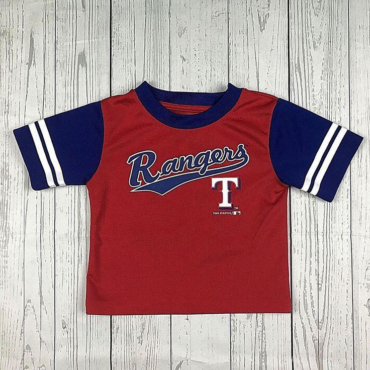 Team Athletics MLB Texas Rangers kids toddlers 2T red white blue baseball shirt #TeamAthletics #TexasRangers