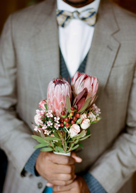 This #wedding bouquet is so unique! From http://100layercake.com/blog/2013/03/14/intimate-restaurant-elopement-inspiration/  Photo Credit: http://tolovephotographie.com/