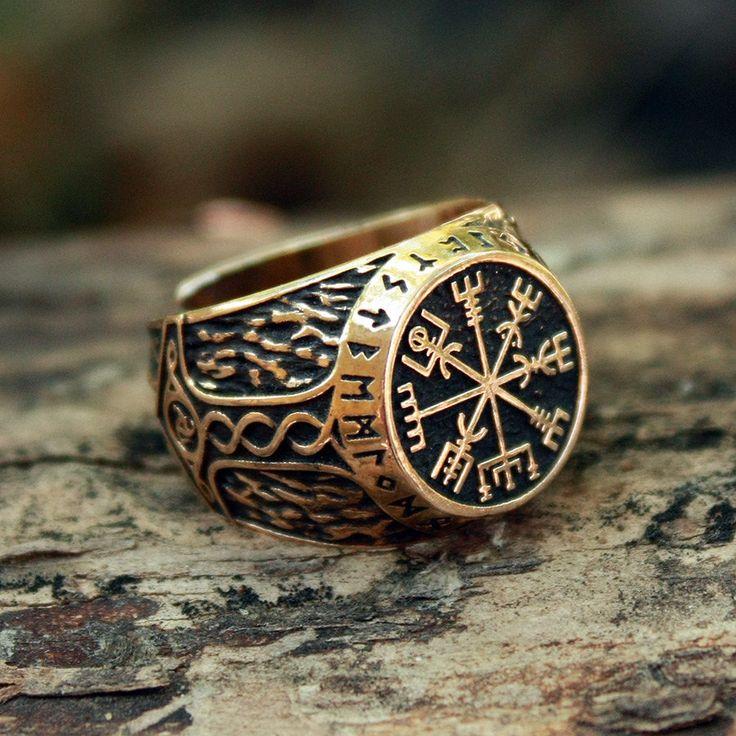 Bronze Vegvisir Futhark Runen Wikinger Kompass magische Daube