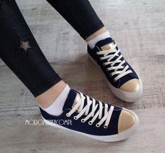 Modomanka Granatowe Trampki Zloty Nosek Conver 6108501305 Oficjalne Archiwum Allegro Top Sneakers Golden Goose Sneaker High Top Sneakers