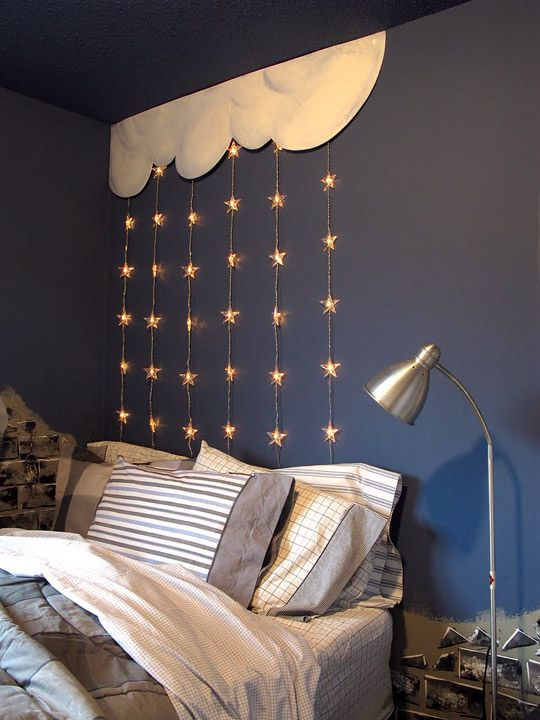 Love the icicle stars (can get from Ikea) suspended from the cloud in the corner of this room above the bed Great for a boys room... against navy walls...