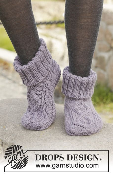 "Knitted DROPS slippers with cables in ""Nepal"". Size 35 - 43. ~ DROPS Design"
