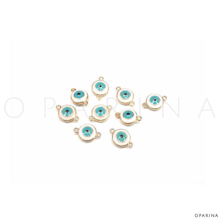 Ojos Turcos de Doble Argolla Esmeltados. #oparina #evileye #turkisheye #DIY #beads #jewelryfindings #ojoturco #boho gypsy  #madewithstudio