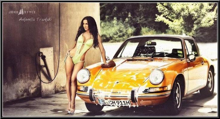 Porsche at the car wash vintage premium shoot. #porsche #girl #vintage