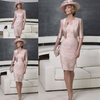 На Заказ 2016 Элегантный Мать Невесты Платья с Половиной Рукав Куртки Розовый Атласные Кружева Scoop Вечерние Платья E0103