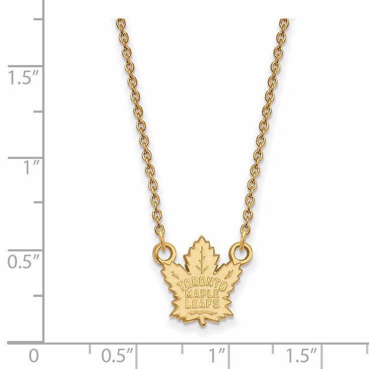14 Karat gold NHL LogoArt Toronto Maple Leafs Small Pendant with Necklace