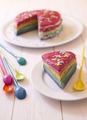 Gâteau de crêpes façon rainbow cake, crème chantilly au mascarpone - recette de cuisine Odelices