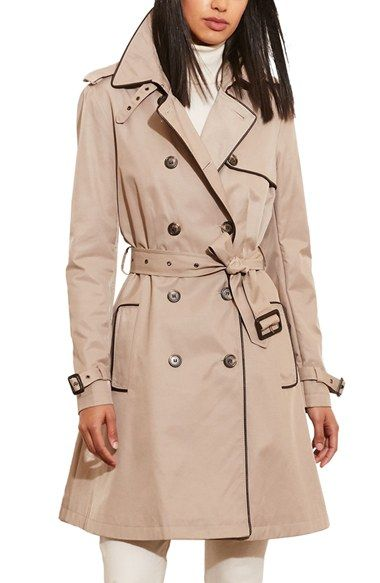 Free shipping and returns on Lauren Ralph Lauren Faux Leather Trim Trench Coat (Regular & Petite) at Nordstrom.com. Contrast faux-leather piping and iconic details, from a throat latch to belted cuffs, lend heritage polish to a double-breasted trench cut from water-resistant poplin.