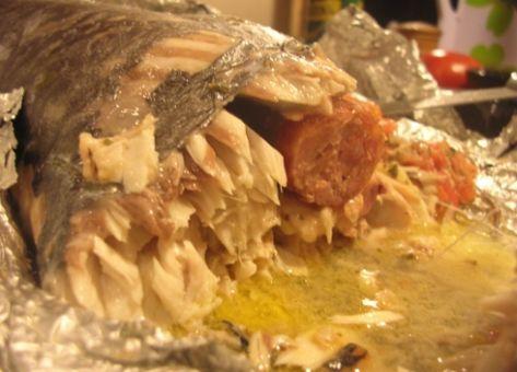Esta es la Receta Chilena de Sierra rellena y su Modo de preparación.