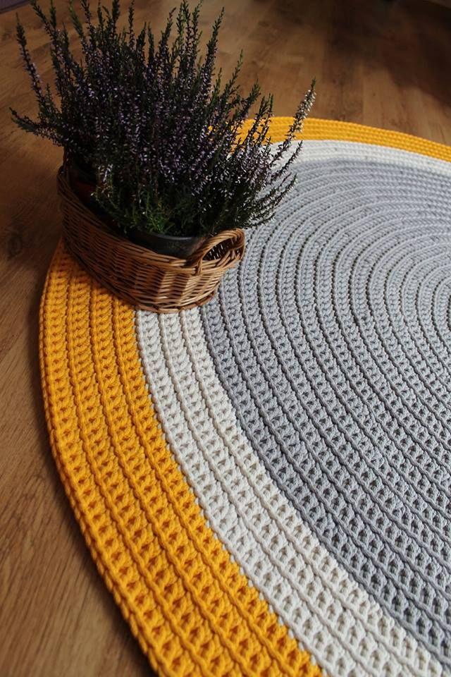 Dywan ręcznie robiony z bawełnianego sznurka szaro- żółty