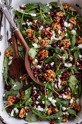 Winter salad with maple candied walnuts and balsamic fig dressing