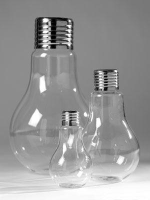 Vase en verre transparent et m�tal forme ampoule Bulb Serax