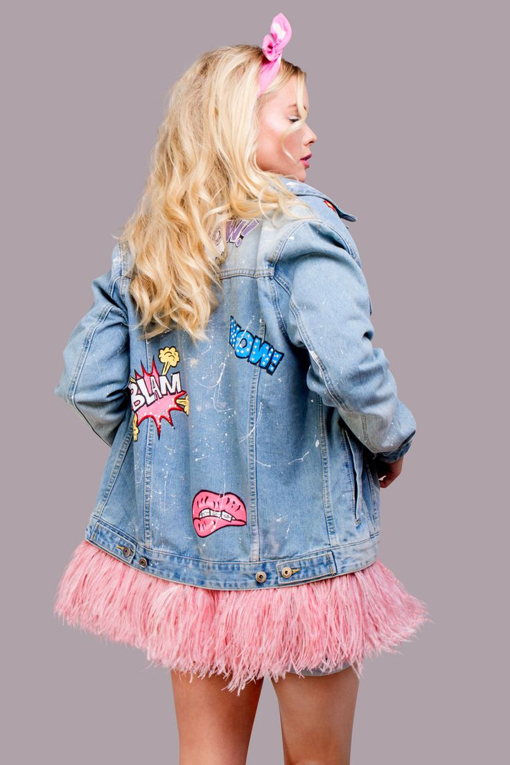 Denim jacket DARIA Y MARIA of gently blue color. Hand painted in Pop Art style, decorated with detachable ostrich feathers high quality of pink colour and rhinestones.