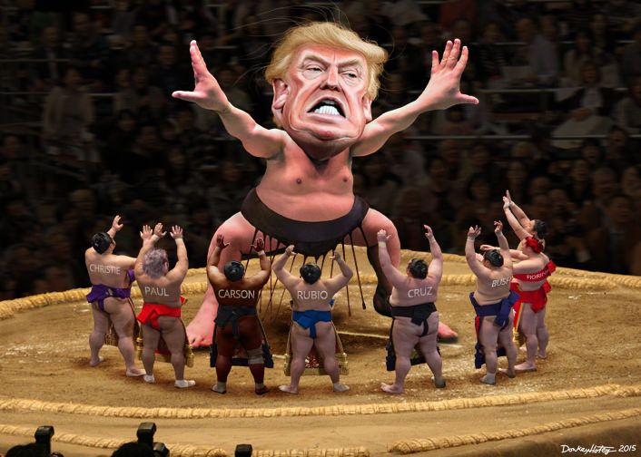https://flic.kr/p/BXKec7 | Yokozuna Trump Towers Over His Challengers | The CNN/Salem Radio - Republican debate will be held December 15, 2015 in Las Vegas, Nevada.  Donald John Trump, Sr., aka Donald Trump, is a celebrity business man and media personality. He is a candidate for president in the 2016 Republican primary. This caricature of Donald Trump was adapted from a Creative Commons licensed image from Gage Skidmore's flickr photostream. Trumps sumo wrestler body was adapted from…