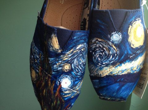Hand Painted Starry Night Toms Shoes by DachiInfinity on Etsy, $145.00