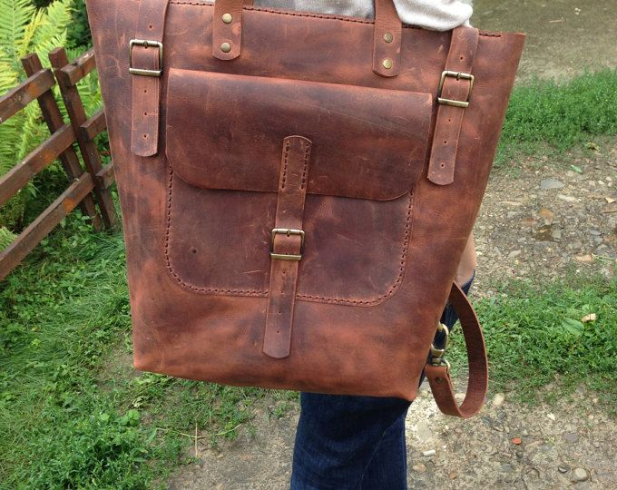 Mochila de cuero grande marrón, marrón cuero bolso, mochila de cuero Convertible, morral del ordenador portátil de marrón, de cuero del ordenador portátil Tote.12