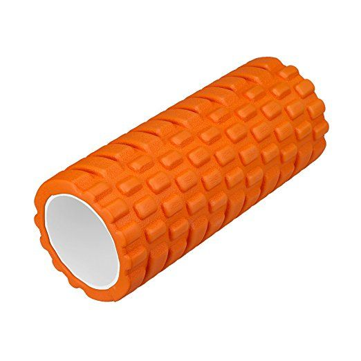 """Enkeeo Fitness Foam Roller Grid Textured Muscle Rollers 6"""" × 12"""" for Deep Tissue Myofascial Release, Sports Massage and Recovery, Trigger Point Therapy, Pilates & Yoga, Orange"""