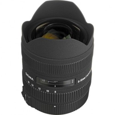 SIGMA 8-16/4.5-5.6 DC HSM For Nikon. This is the first ultra wide zoom lens with a minimum focal length of 8mm, designed especially for APS-C size image sensors. The wide-angle view and exaggerated perspective enables the photographer to emphasize the subject. Four FLD glass elements and three aspherical lenses provide high image quality. The incorporation of HSM ensures quiet and high speed AF as well as full-time manual focus capability.