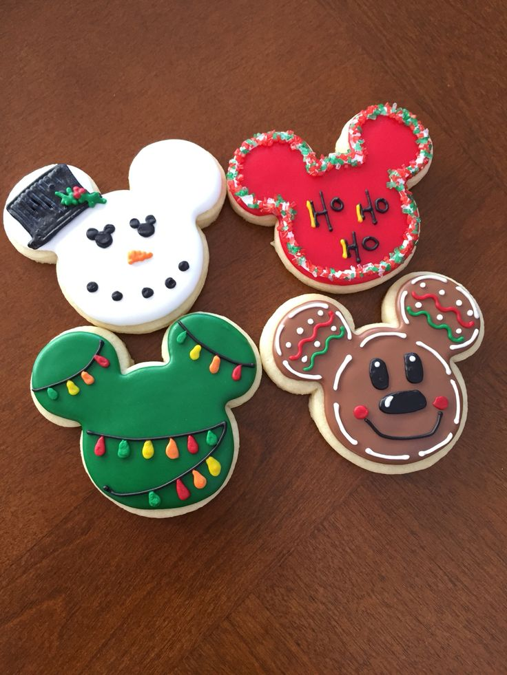 Www.facebook.com/cocossugarshack decorated cutout cookie Christmas Mickey set