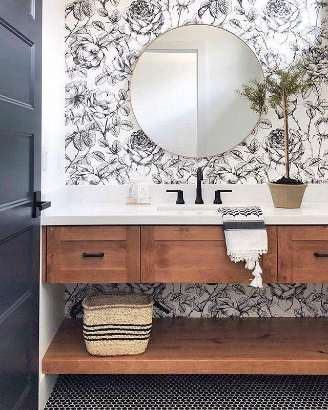 Cute Powder Room Or Small Bathroom With Wallpaper Roy D Mirror And Wood Vanity Powd Bathroom Interior Design Small Bathroom Decor Bathroom Inspiration Modern