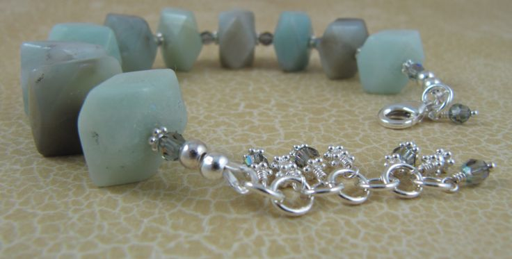 Bracelet with Brazilian amazonite chunks, Swarovski crystals, and sterling silver spacers and findings.