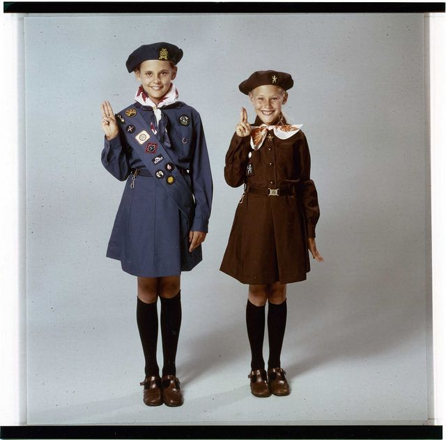 Brownie and Girl Guide Uniforms Canada circa 1975 by Girl Guides of Canada, via Flickr