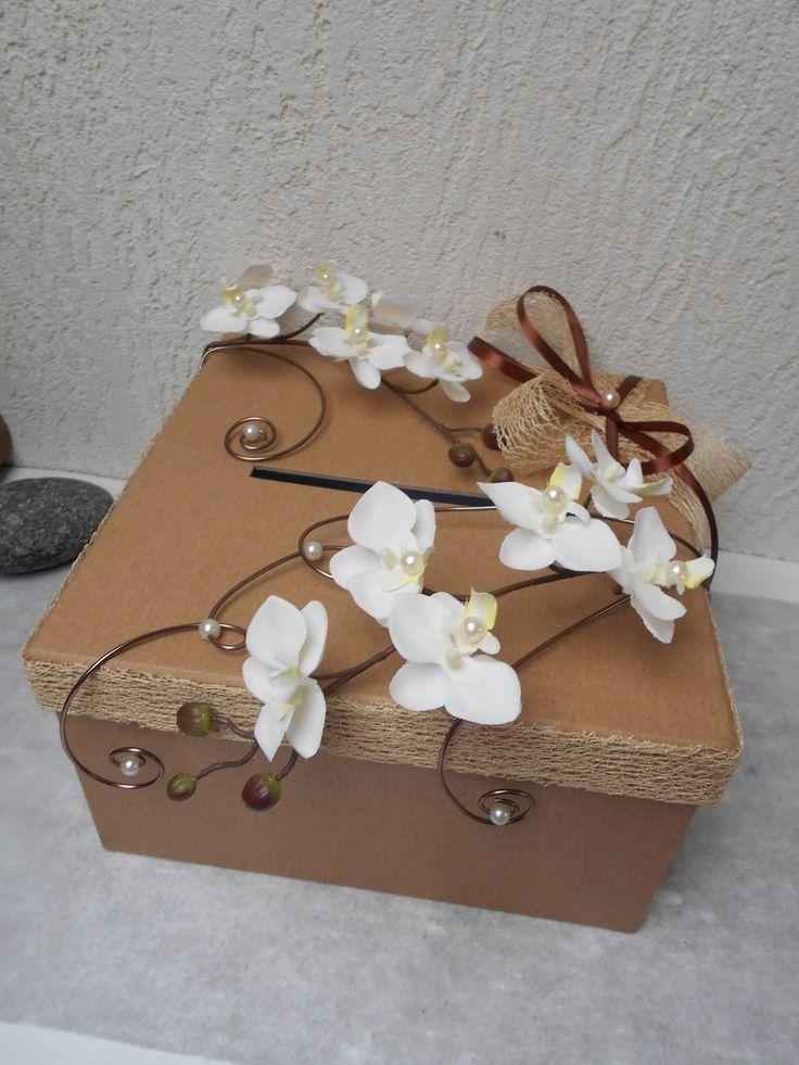 Urne pour mariée ivoire et chocolat - avec orchidées artificielles : Autres accessoires par sophialaura