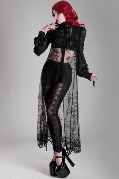 Mystic Shadows capeby Punk Rave is made from mesh and organza with fine embroidered detail, blacklace tassles and trim,and black buttons down the centre front. Onesize (approx 8-14).
