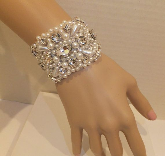 Vintage Inspired Wedding Bracelet, BETHANY, Bridal Bracelet, Pearl Bracelet, Rhinestone Bracelet, Bridal Jewelry, Bridesmaid Bracelet on Etsy, $32.00