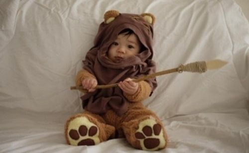 He's a little ewok!! I will dress my children like this.