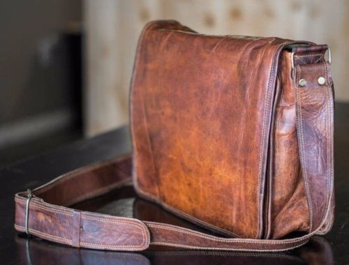 Mens-Genuine-Vintage-Leather-Messenger-Man-Business-Laptop-Briefcase-Satchel-Bag