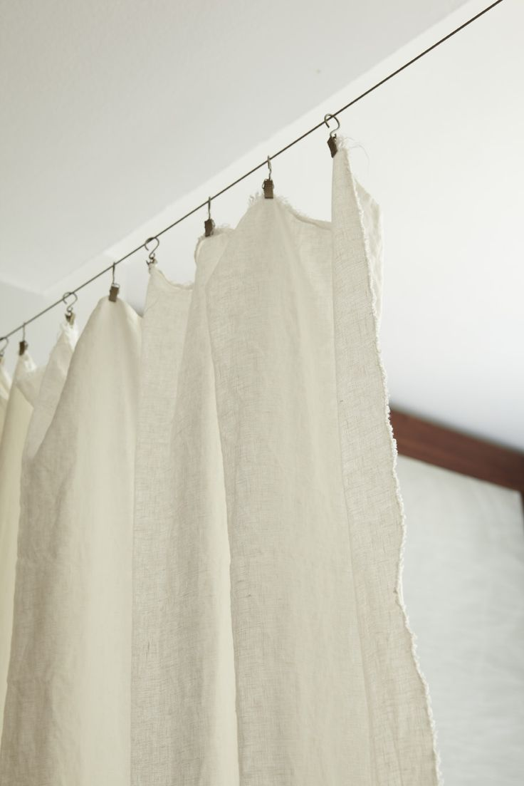 Linen curtain on a wire