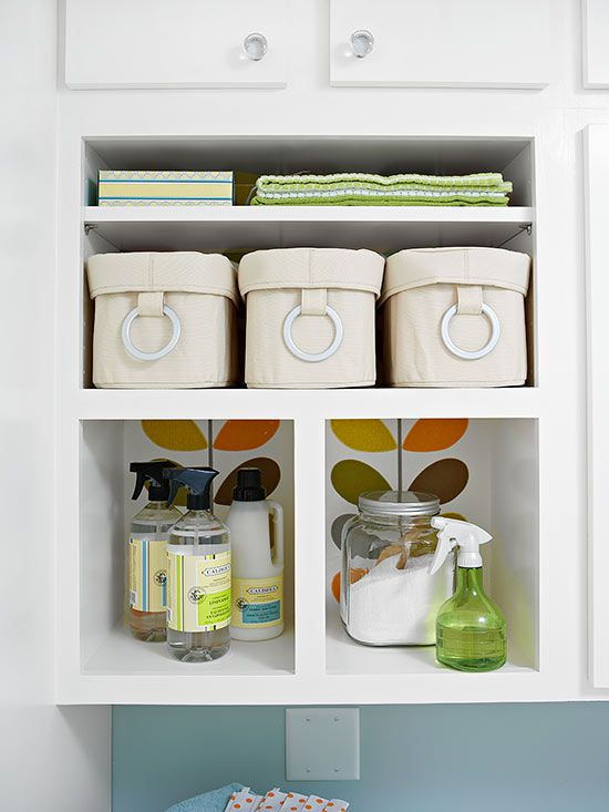 Clear canisters are a beautiful way to keep your knick knacks organized: http://www.bhg.com/rooms/laundry-room/storage/laundry-room-storage-solutions/?socsrc=bhgpin011314clearcanisters&page=12