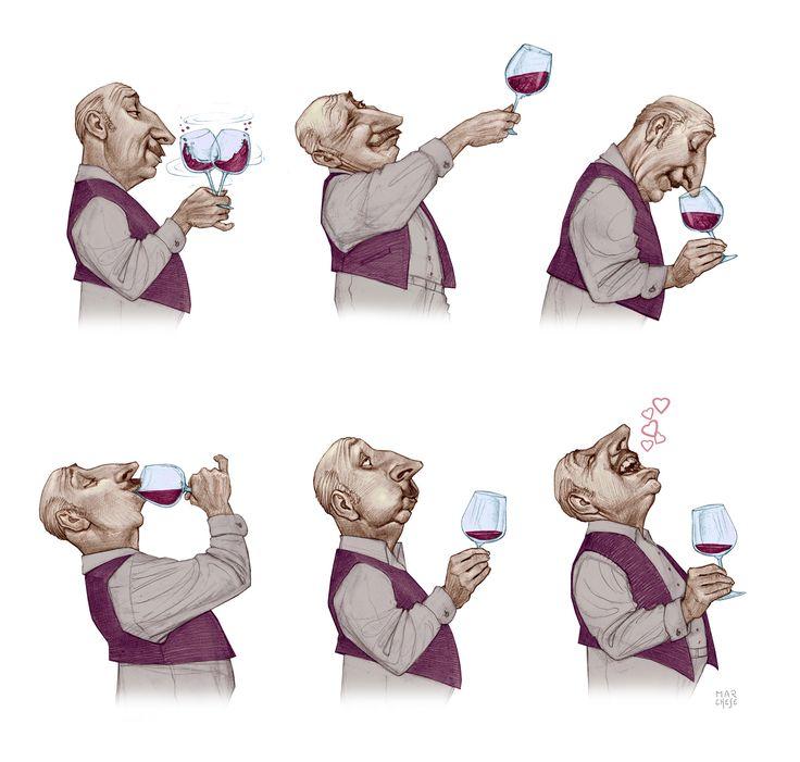 Córeo de la degustación del Vino 50cm x 60cm - Lápiz Color Autor: Marcelo Marchese