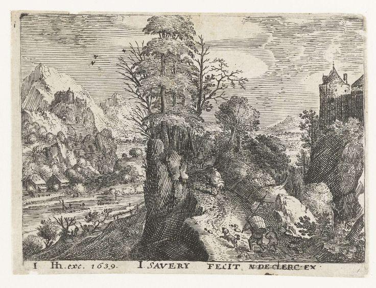 Jacob Savery (I) | Landschap met reizigers op steile rots, Jacob Savery (I), Hendrick Hondius (I), 1584 - 1603 | In een bergachtig landschap lopen twee reizigers (een man met een mand op zijn rug en een jongen) met een hond een steil pad op, achter twee ruiters aan. Links een rivier, rechts de toren van een kasteel. Deze prent is onderdeel van een serie van zes landschappen met reizigers.