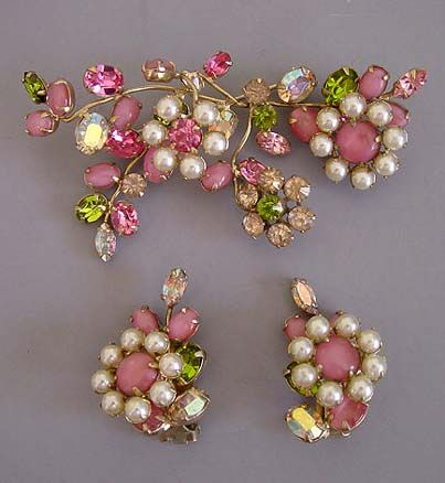 Schreiner pink brooch and earrings