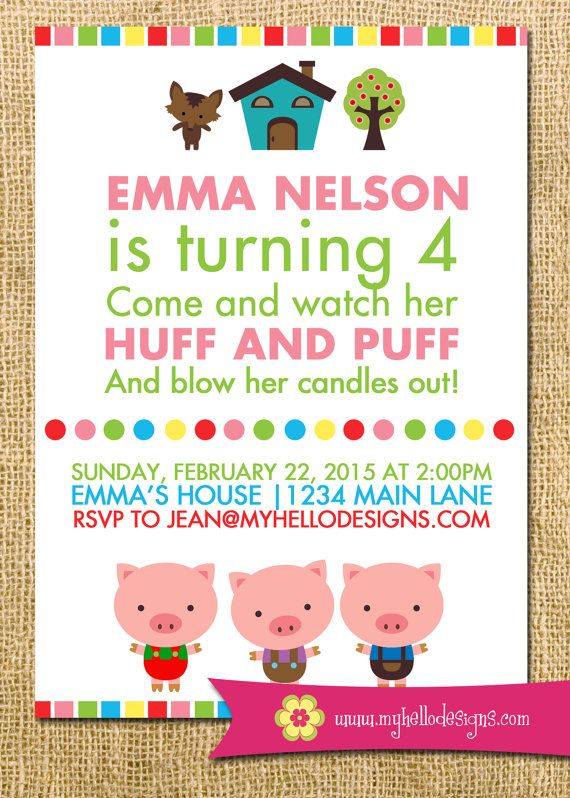 Printable Three Little Pigs Inspired Invitation  by MyHelloDesigns.  Pink version for girl and blue version for boy.   oink farm wolf house party paper goods Invite DIY boy girl card printable birthday fairy tale huff puff blow the candles out