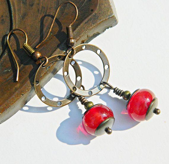 Red Currants lampwork earrings red lampwork by MarianneMerceria