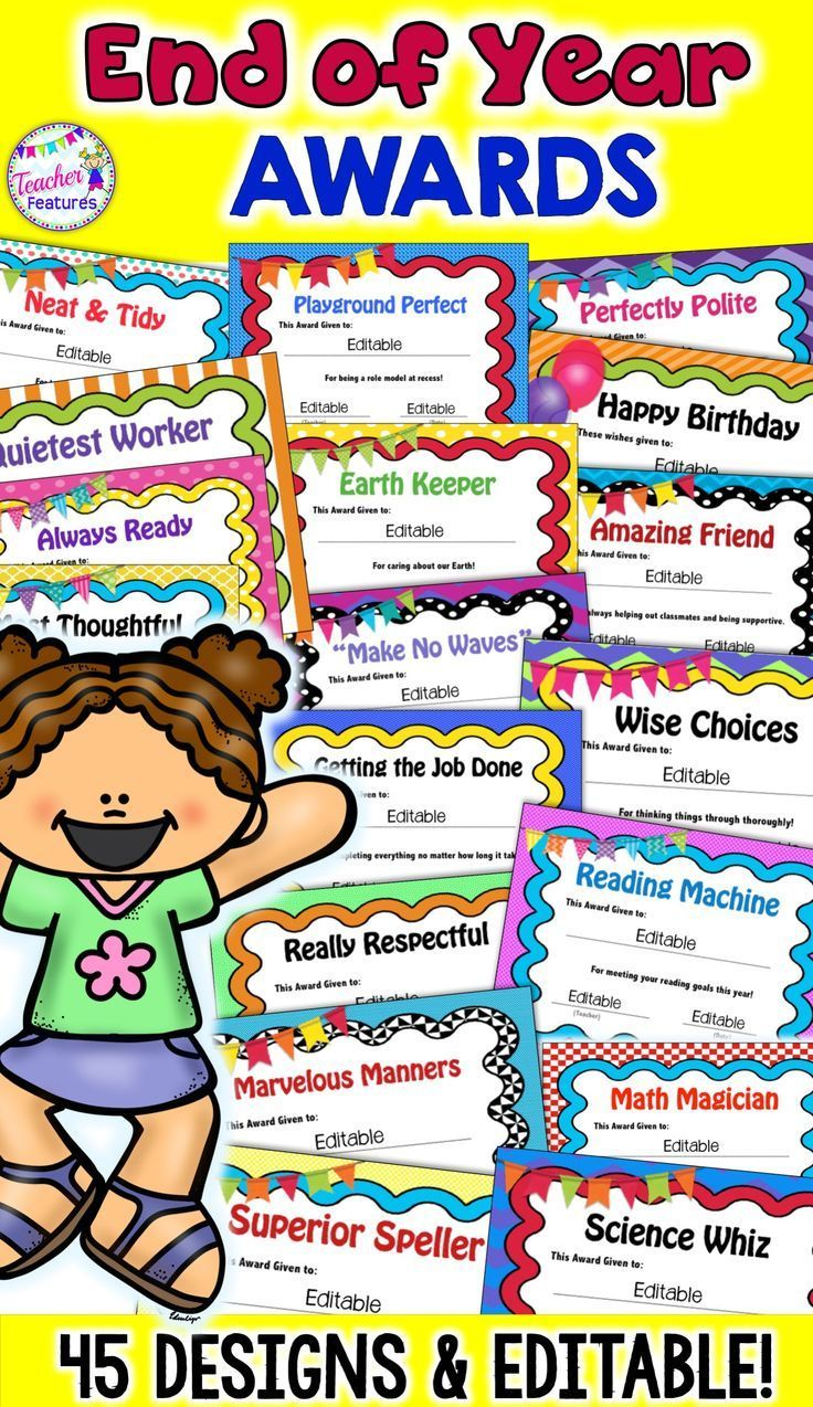 Editable Award Certificates End Of The Year Awards Classroom Awards Teacher Features School Signs Awards and certificates for students