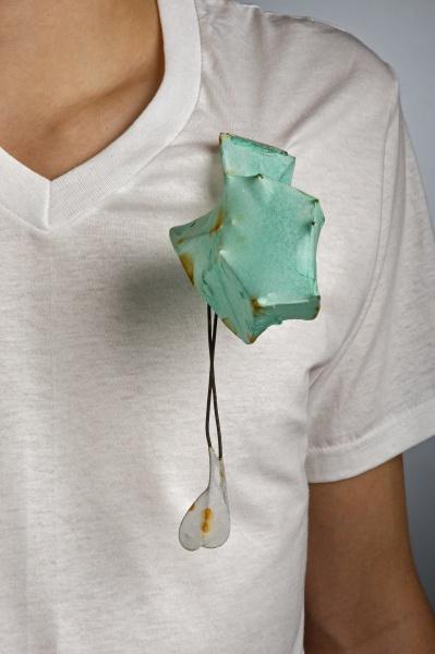 "Melissa Walter     Swing,Sway    Steel, handmade abaca paper, 7 1/2 x 3 x 6"", 2011."