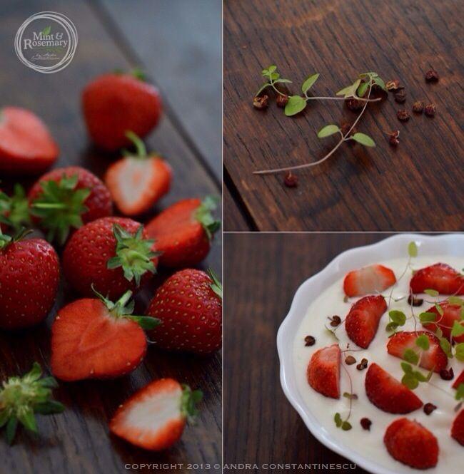 Summer dessert/breakfast with strawberries, yogurt & red sichuan pepper