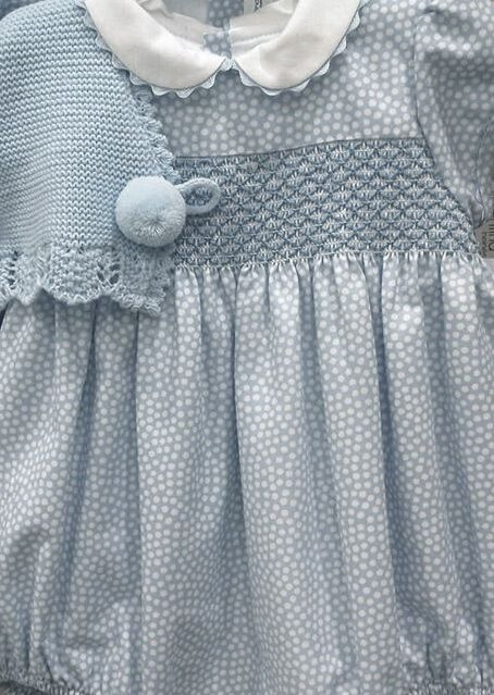 hand smocked baby romper and sweater detail for boys