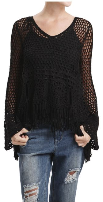Crochet Knit Fringe Sweater With Tie Back