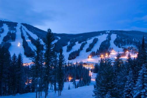 Sun Peaks Resort, BC a view of the runs at dusk.
