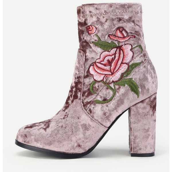 SheIn(sheinside) Flower Embroidered Velvet High Heeled Boots ($44) ❤ liked on Polyvore featuring shoes, boots, purple, high heeled footwear, rounded toe boots, round cap, floral embroidered boots and high heel shoes